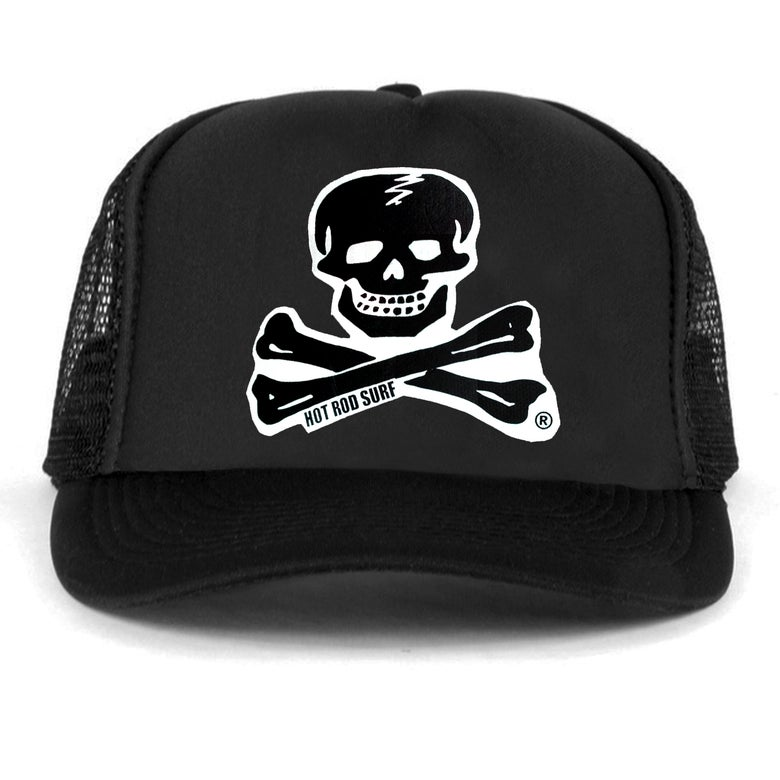 Image of Skull & Bones Hat ~ HOTRODSURF ~ Hot Rod Surf ® - Black