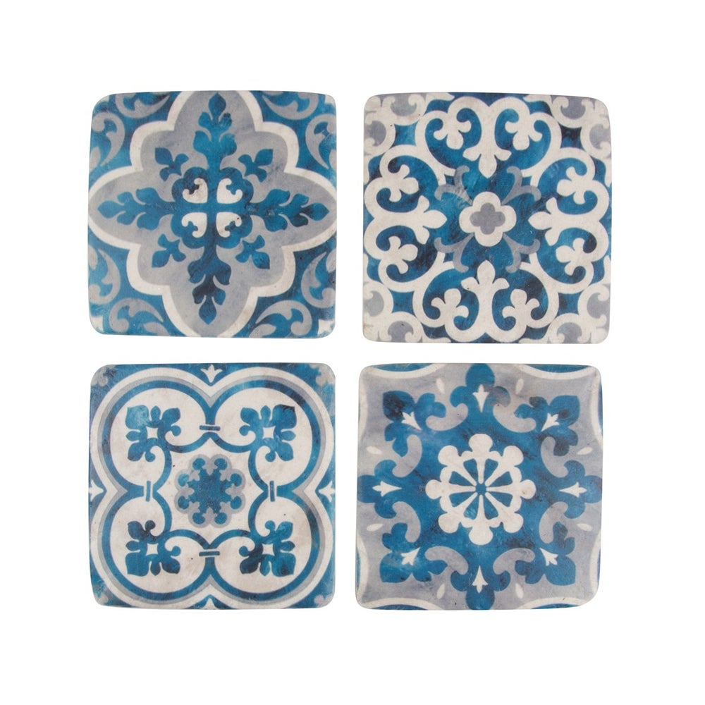 Image of Set of 4 Blue & White Mosaic Coasters