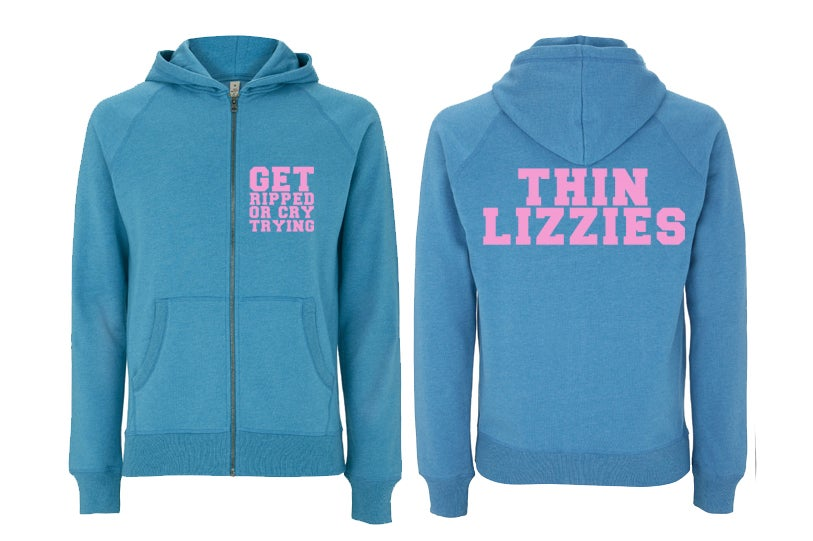 Image of Get Ripped Zip Up Hood Blue