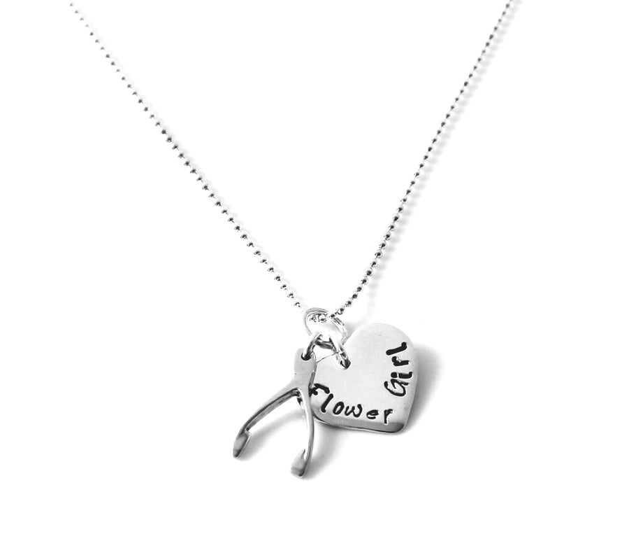 Image of Personalised Lucky Heart and Wishbone Necklace