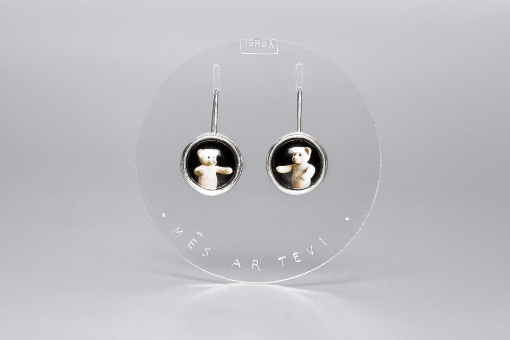 Image of teddy-bear silver earrings with photos, rock crystal TECUM SUMUS
