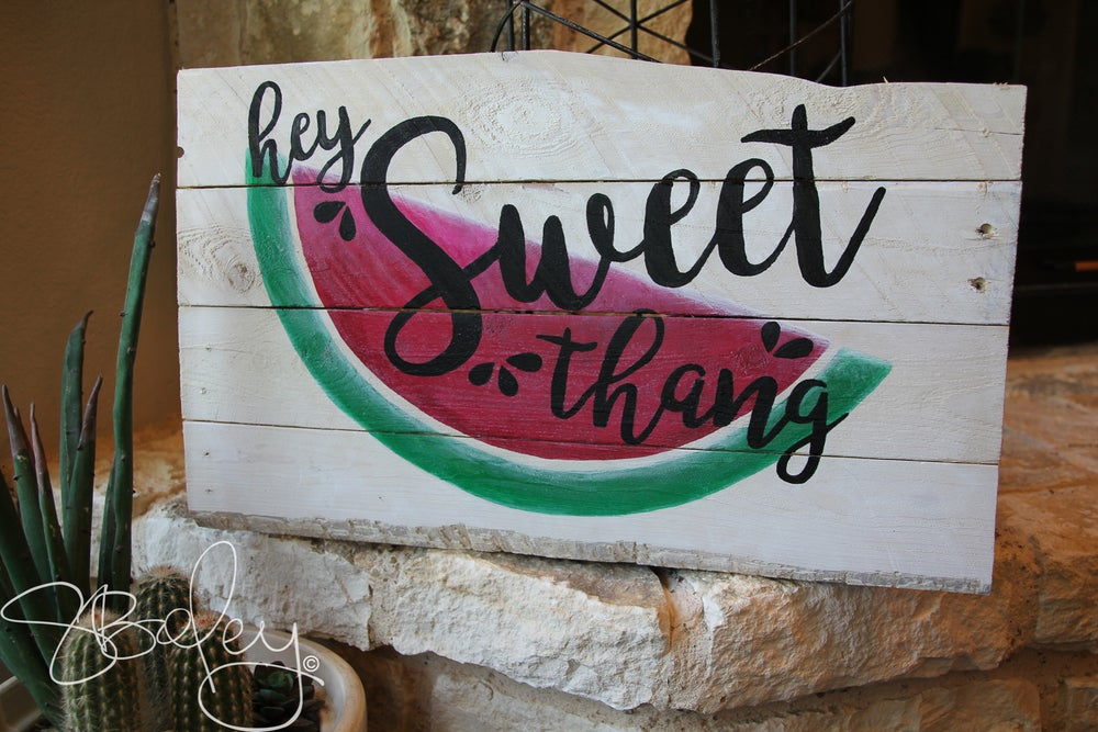 Image of Reclaimed, White-Washed, Hand Painted Wood Sign - Sweet Thang
