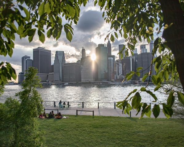 Image of Lower Manhattan City Skyline Sunset
