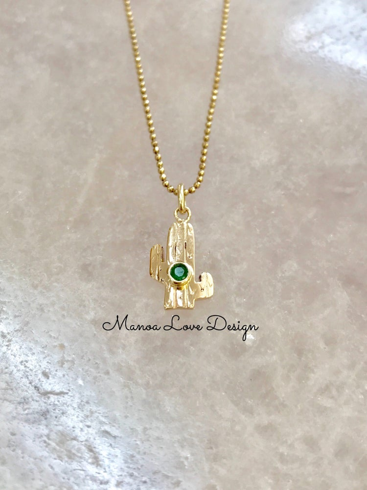 Image of Cactus with emerald pendant