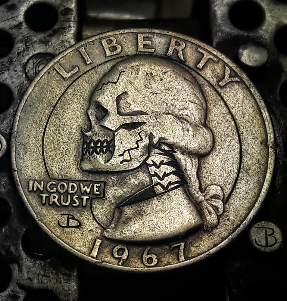 Image of Washington Quarter Skull Hobo Nickel - Made To Order