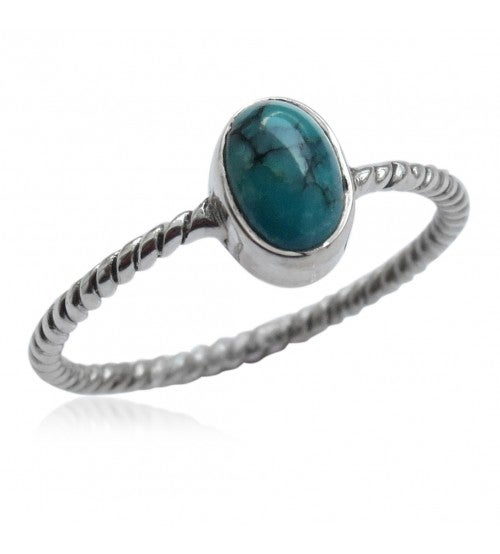 Image of Dainty Sliver and Turquoise Twisted Ring