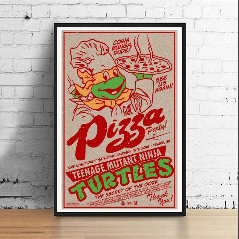 Image of Ninja Pizza Party 11 x 17 Art Print (Michelangelo)