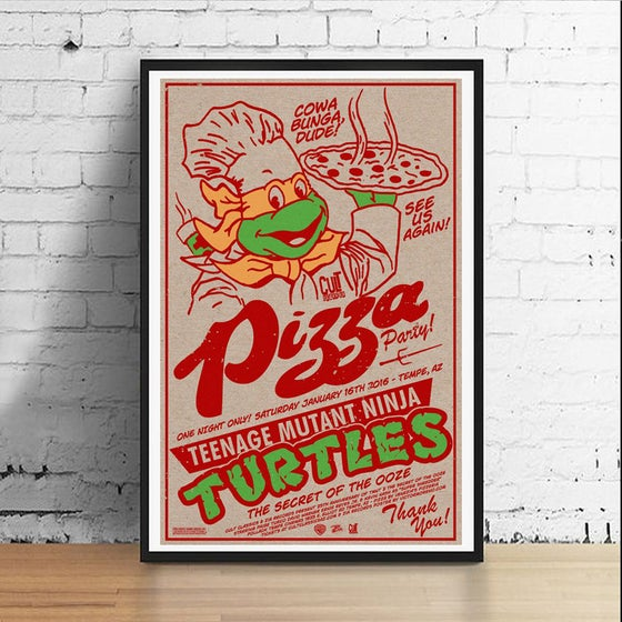 Image of Ninja Pizza Party 11 x 17 Art Print (Michelangelo)
