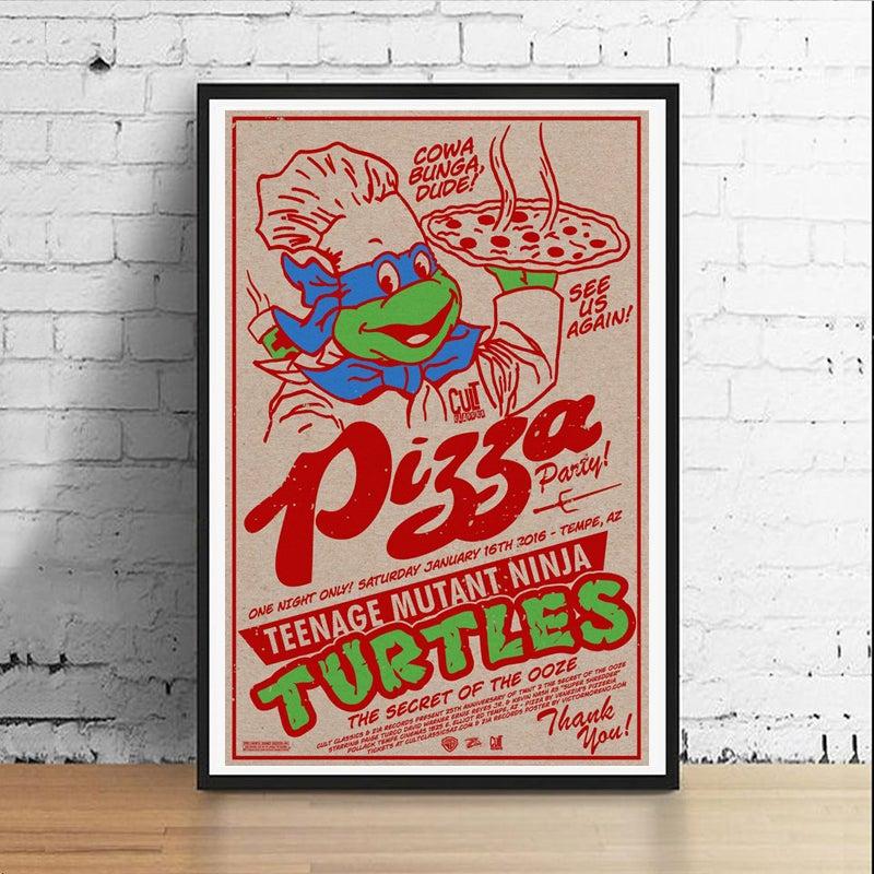 Image of Ninja Pizza Party 11 x 17 Art Print (Leonardo)