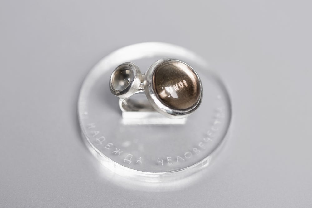 Image of silver rings with rock crystal and smoky quartz SPES MUNDI