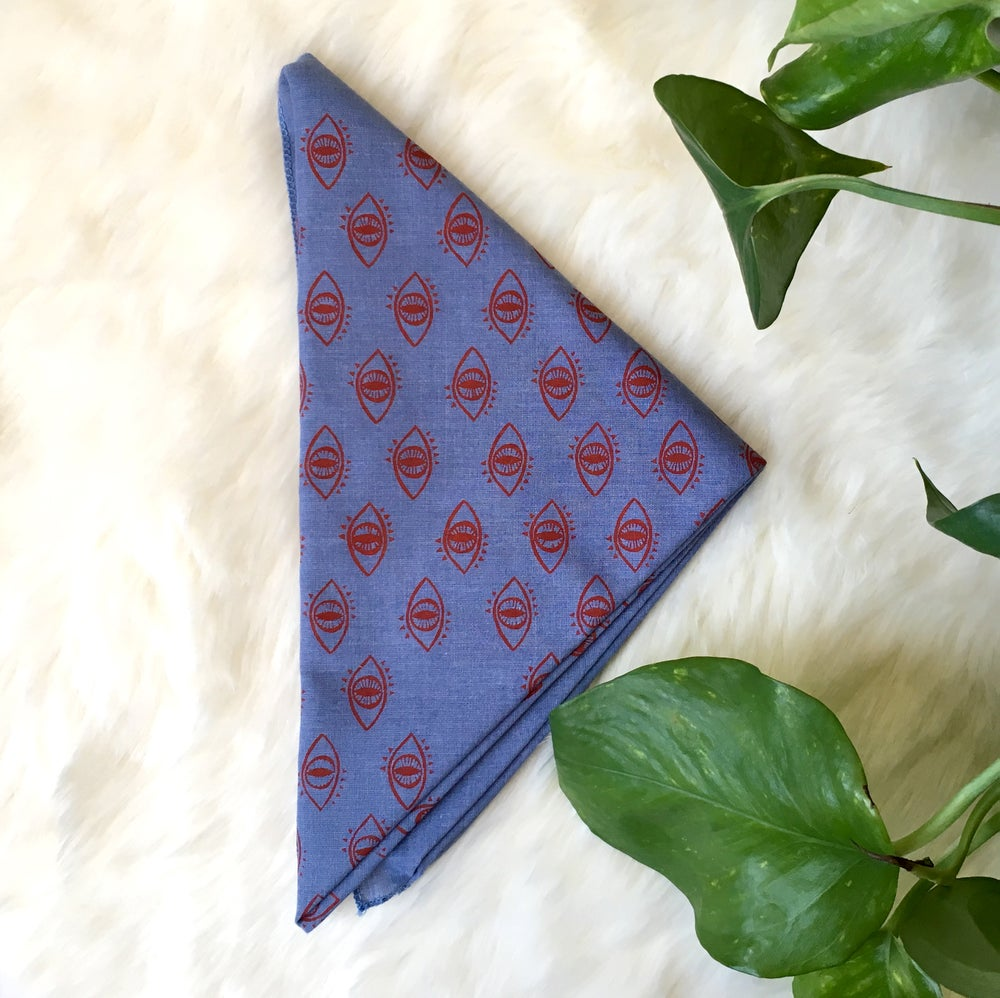 Image of Eyeball Bandana in Red and Chambray