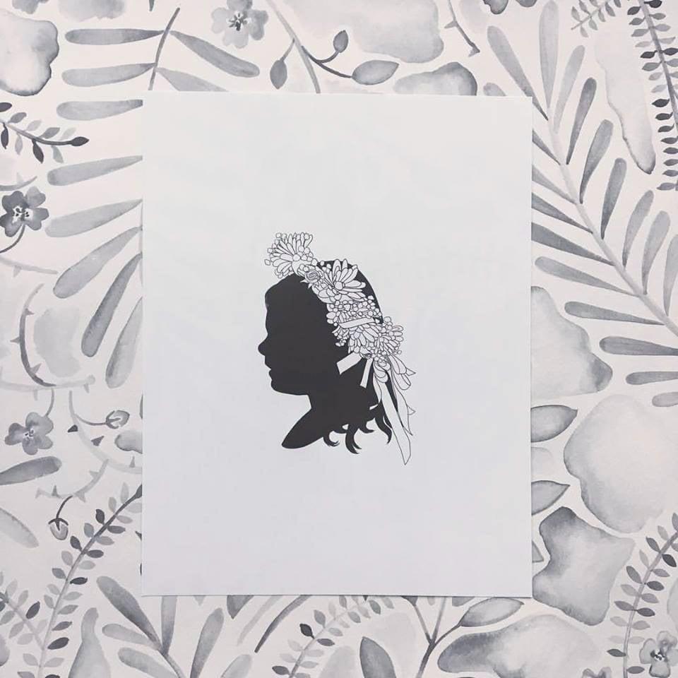Image of Custom B&W DIGITAL Silhouette Portrait