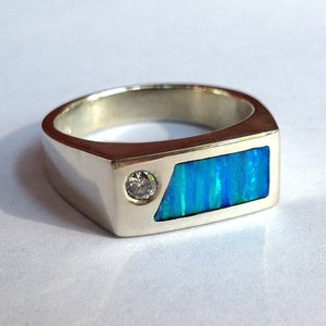 Image of Diamond and Kyocera Opal Inlay Men's ring