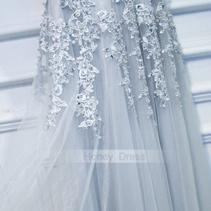 Image of Silver Gray Tulle Lace Applique V-Neck Strap Long Prom Dress With V-Back