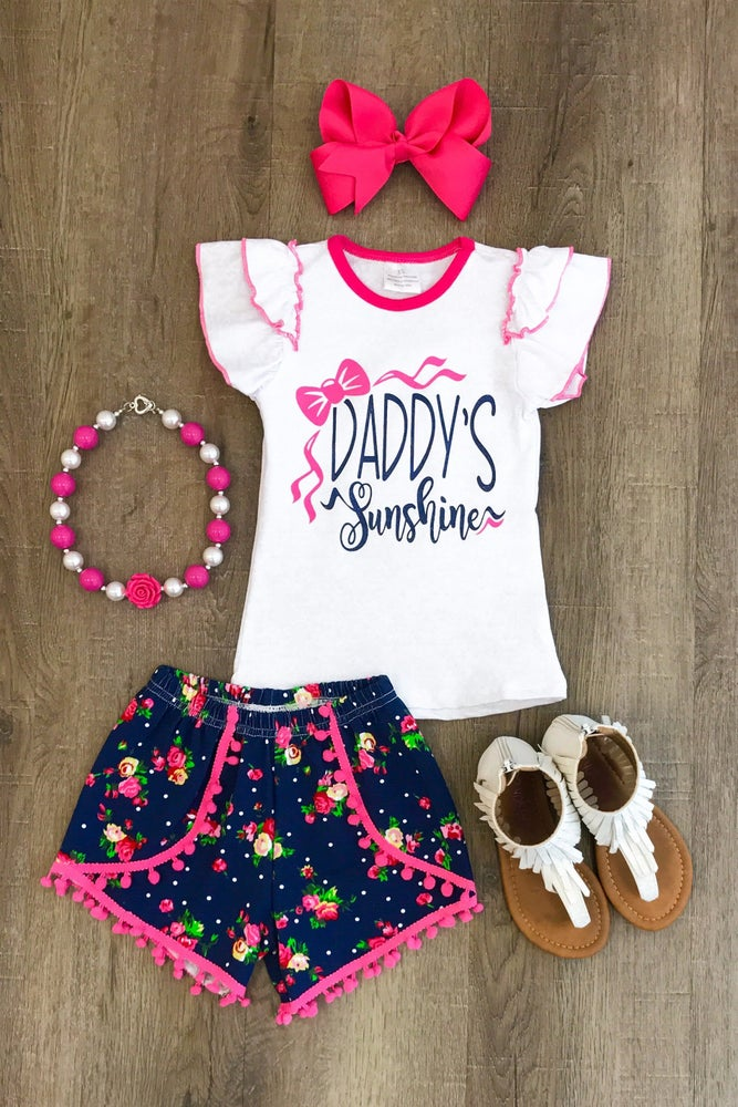 Image of Daddy's Sunshine Pom Pom Short Set., toddler, girl, summer, Father's Day, photos, sister sets