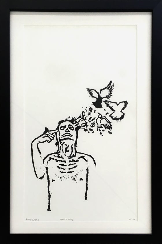 "Image of ""Peace of Mind"" / linoleum print / edition of 250. Framed"