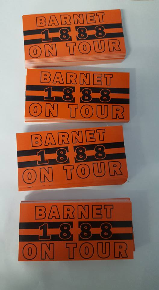Image of Barnet On Tour Football/Ultras 10x5cm Stickers. Pack of 25. Brand New.