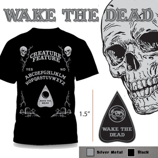 Image of Wake The Dead Spirit Board T-Shirt & Enamel Pin Combo
