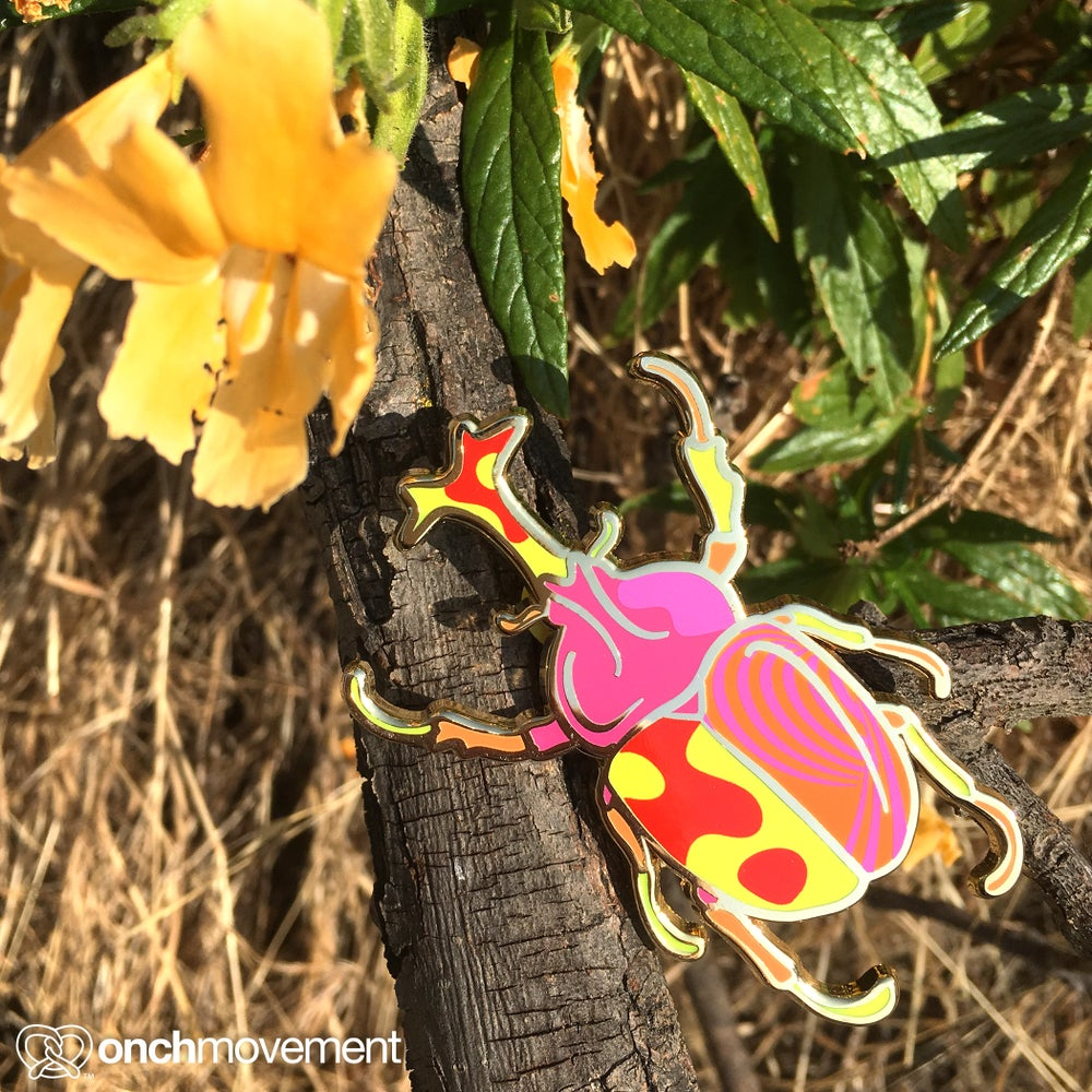 Image of Pink Psychedelic Unicorn Beetles Brooch