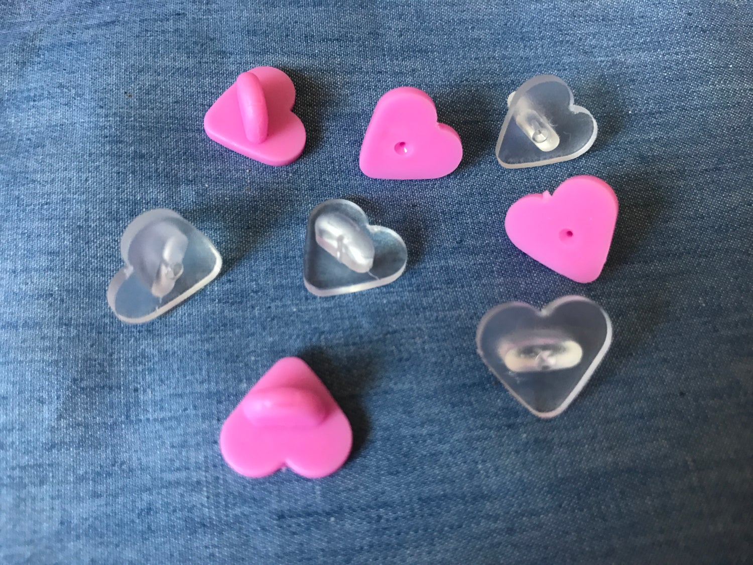 Image of Heart Shaped Rubber Pin Backs (Add-on)