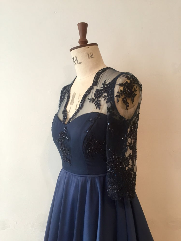 Image of Beaded V neck Full circle party dress
