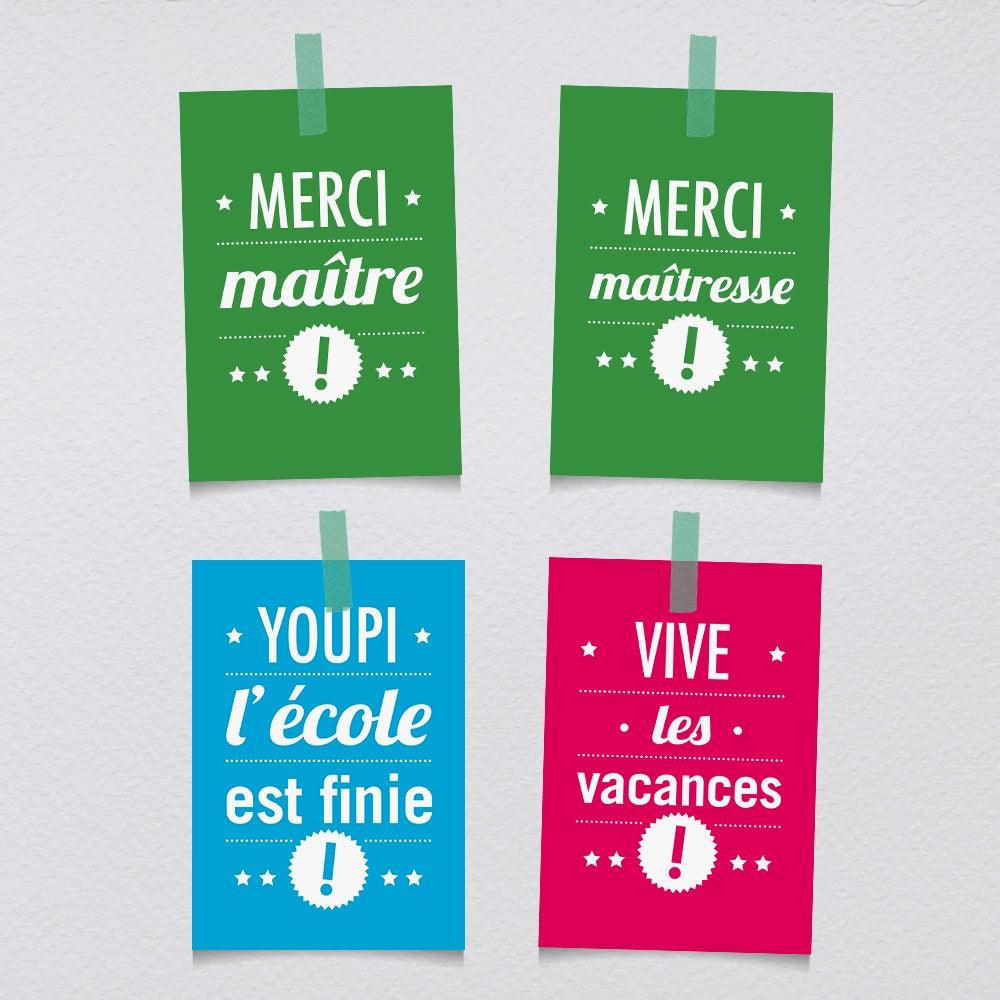 """Image of Cartes-postales """"Youpi l'école est finie"""" à l'unité"""