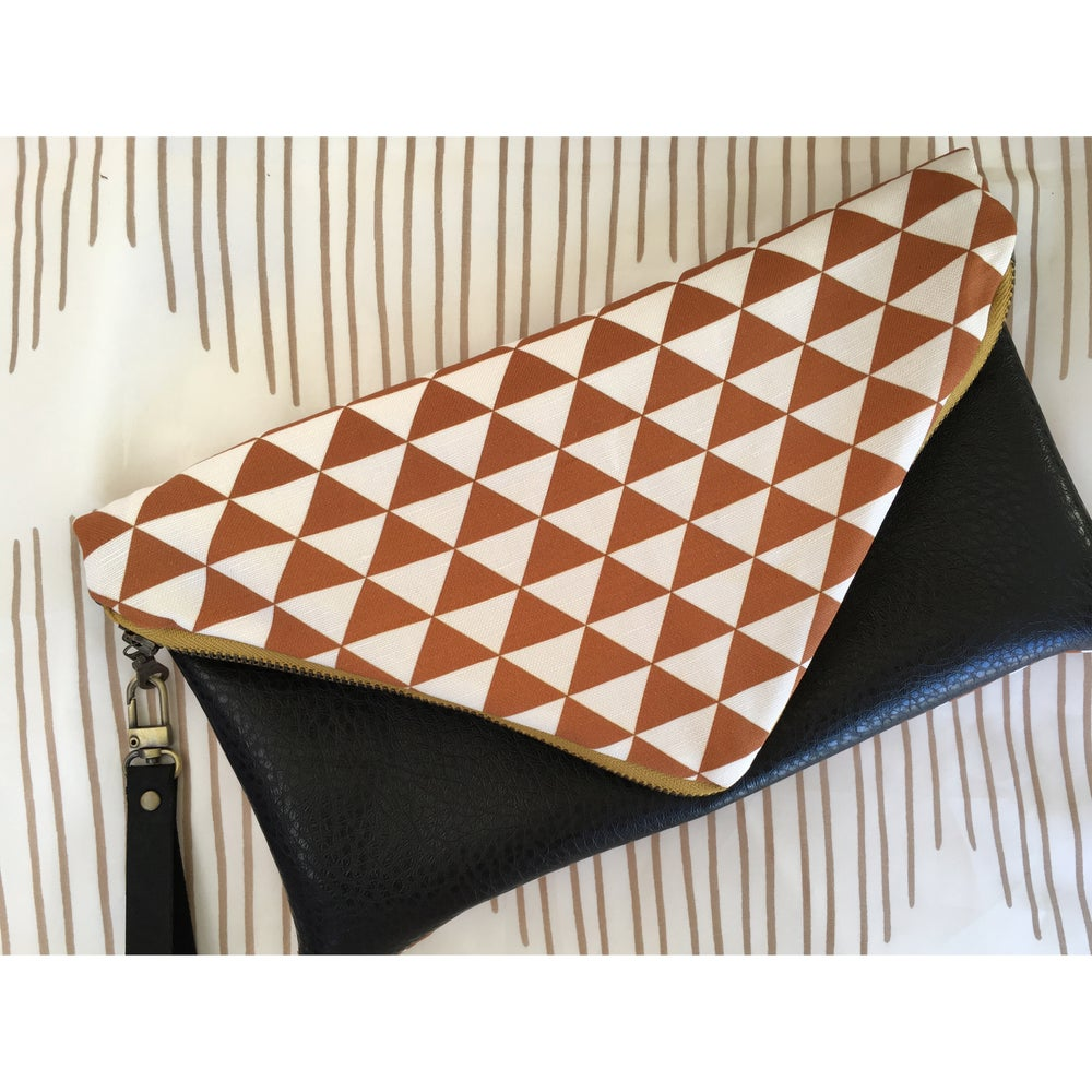 Image of Mustard Brown Mano Envelope Clutch + Wristlet Strap