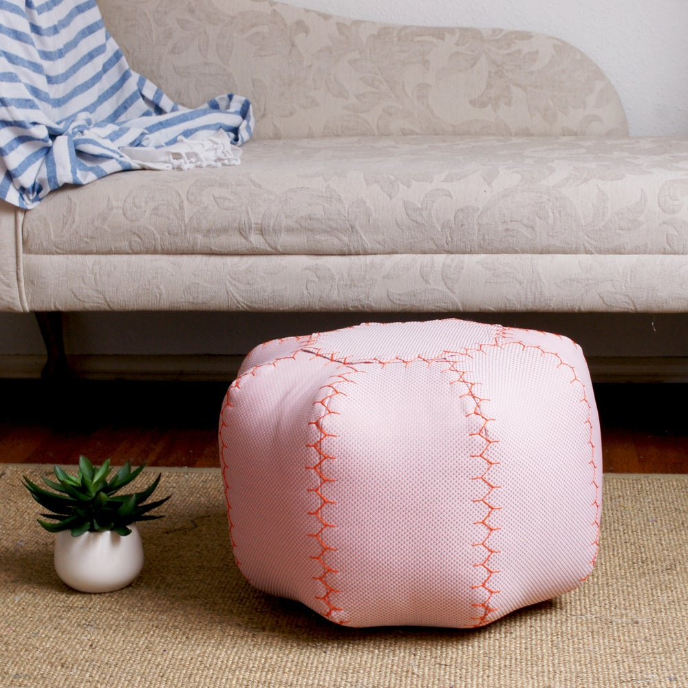Image of Pink Grapefruit, small round pouffe