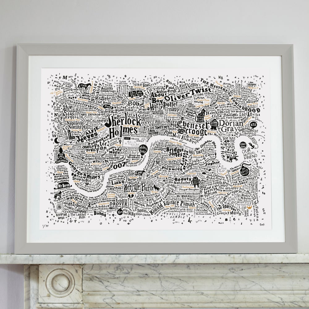 Image of Literary London Map (White, Black and Gold, 2017)