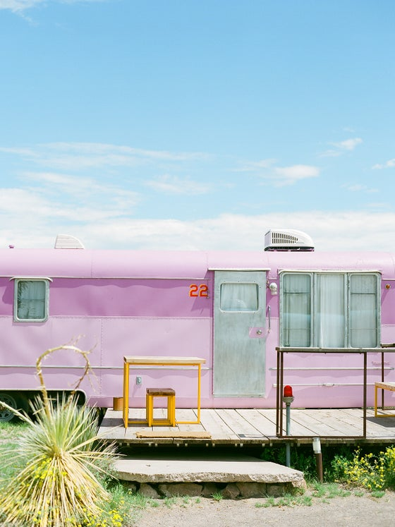 Image of Pink trailer Marfa, Texas