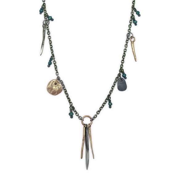 Image of spike & rock necklace w/ beads (P131SILBRA2026)