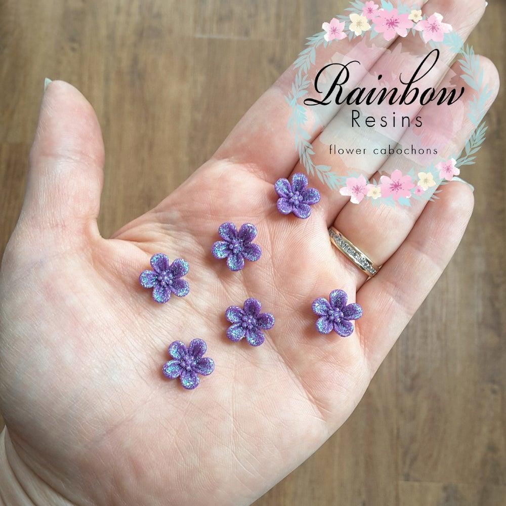 Image of Dark purple sparkly blossoms x 10