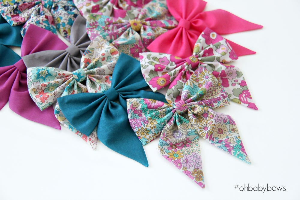 Image of Tails Bow Clip ~ Pink, Teal and Yellow Floral Mix