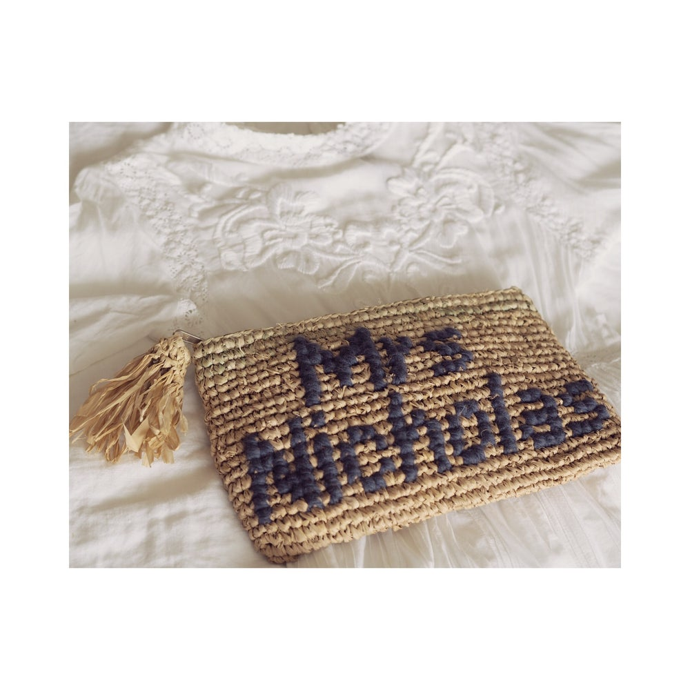 Image of Bespoke raffia clutch -navy