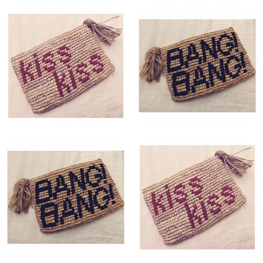 Image of 'kiss kiss BANG! BANG!' raffia clutch