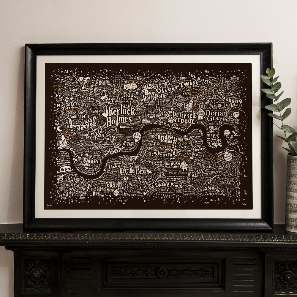Image of Literary London Map (Bronze & White on Brown Plike 2017)