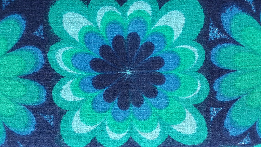 Image of Glorious Blue & Green Barkcloth - fat quarter