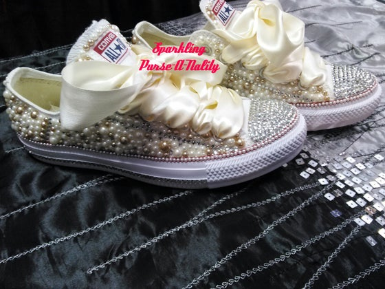 """Image of """"Sparkling"""" Rhinestone and Pearl Converse"""