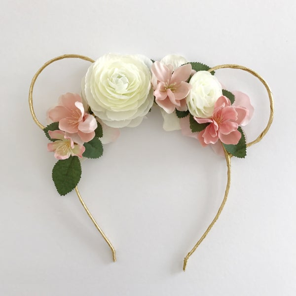 Image of Mouse ears - gold with blush and white