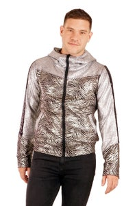 Image of SALE! Reduced From £95.00 - Future Retro Space Sports Jacket - Space Safari - Jet & Silver - Unisex