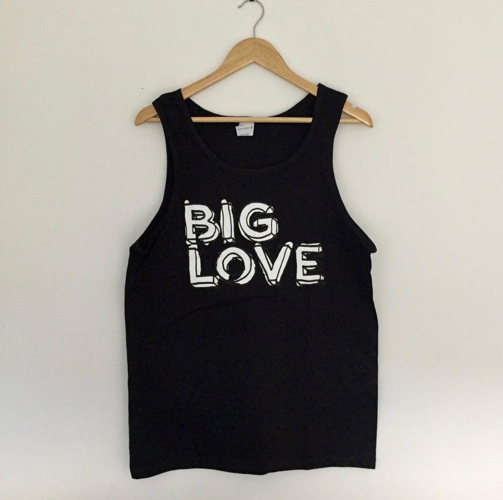 Image of 'BIG LOVE' SUPERSOFT VEST BLACK & WHITE PRINT ON BLACK