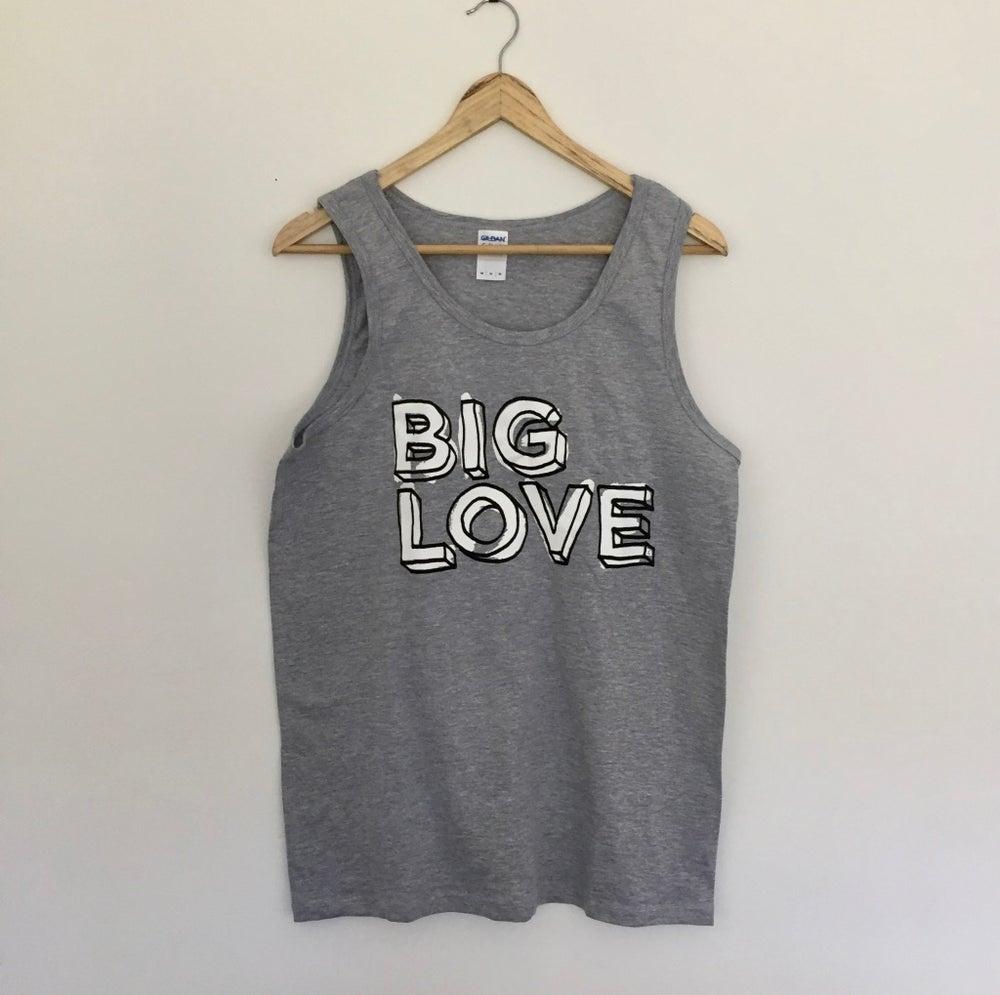 Image of 'BIG LOVE' SUPERSOFT VEST BLACK & WHITE PRINT ON SPORT GREY