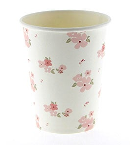 Image of White Floral Cups