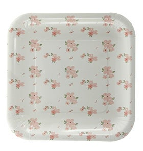 Image of White Floral Square Plate