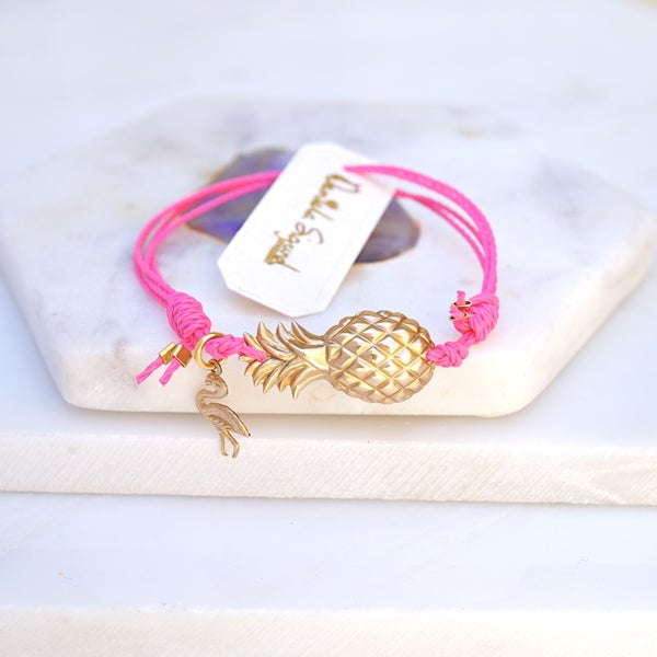 Image of Pineapple and flamingo bracelet,pink friendship bracelet,tropicana jewellery,beach bracelet
