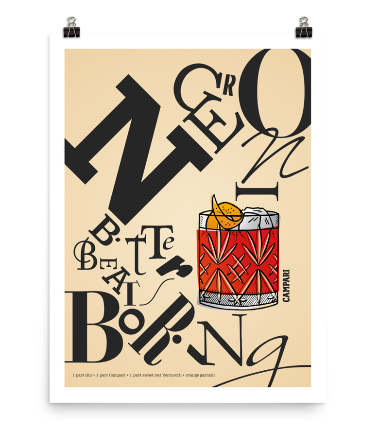 "Image of NEGRONI ""Bitter Beats Boring"" Campaign Poster Print - CAMPARI"