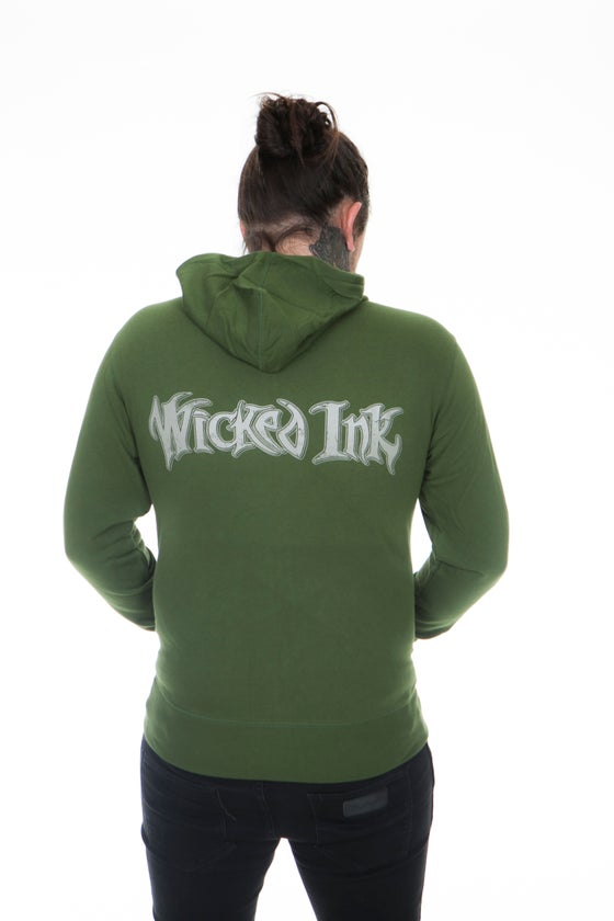 Image of Green Hoodie w/Cream WI Logo