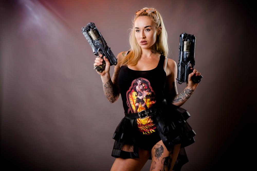 Image of Ladies Black Steampunk Long Singlet