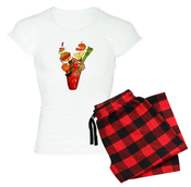 Image of Red Plaid Women's Bloody Mary Pajama Set