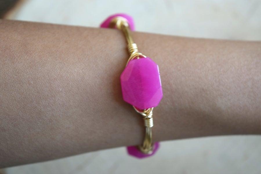 Image of Petite Pink Jade Bangle